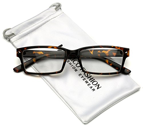 Horn Rimmed Men's Rectangular Clear Lens Glasses (Tortoise, - Shell Glasses Tortoise Brown