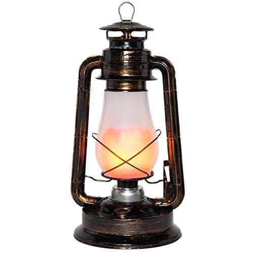 Antique Copper Colored Electric 15.5 Flickering LED Hanging Lantern - Christmas Lanterns, Vintage Lantern, Hanging Lantern
