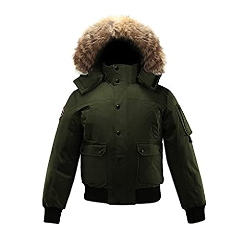 Triple F.A.T. Goose Grinnell Mens Goose Down Bomber Jacket with Real Coyote Fur (X-Large, Olive) - Micro Puff Vest
