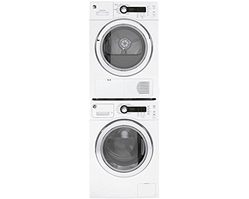 """GE White Compact Laundry Pair with WCVH4800KWW 24"""" Washer, D"""