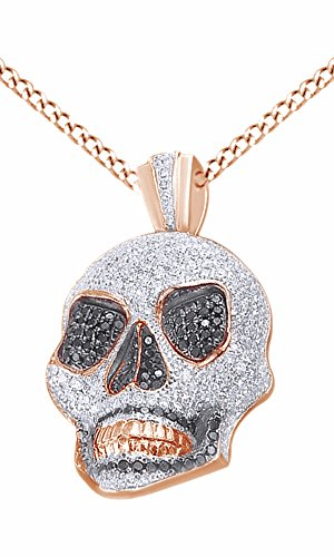 Simulated Black & White Cubic Zirconia Men's Hip Hop Skull Pendant In 14k Rose Gold Over Sterling Silver by AFFY