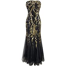 Angel-fashions Women's Sequin Strapless Paillette Tree Branch Tulle Mermaid Evening Dress