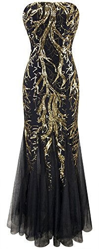 Angel-fashions Women's Sequin Strapless Paillette Tree Branch Tulle Mermaid Evening Dress XXLarge Black