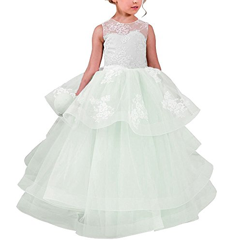 Blush Ball Gown Flower Girls Dresses Sleeveless Round Neck Dress for Weddings