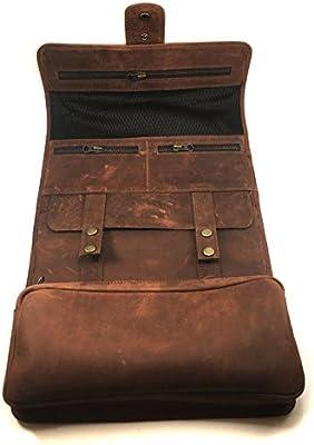7cbbb51a9e Amazon.com  Chalk Factory Natural Leather Dropp Kit Toiletry Hanging Wash  Bag - Ideal as Wash Bag Men s Shaving Kit Make up Bag Travel Organizer  (Tan)  ...