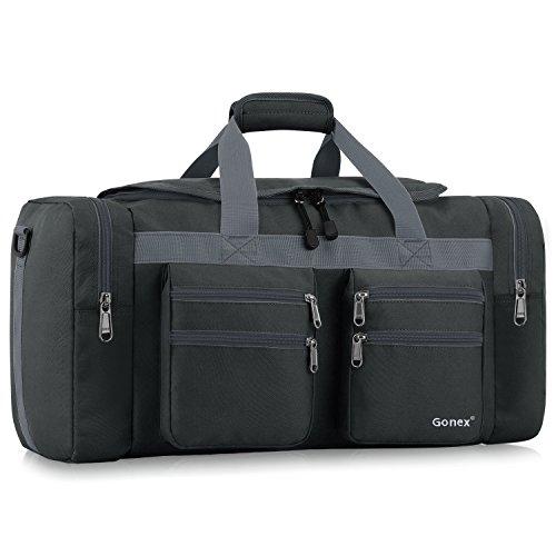Gonex 45L Travel Duffel Bag Gym Bag Sports Duffle Bag Weekender Bag Luggage Duffel for Men Women for Hiking Camping Travelling Cycling with Multi-Pockets Dark Gray