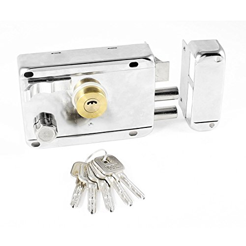 Rim Night Latch - Metal Left Hand Deadbolt Rim Night Latch Door Security Lock w 5 Keys