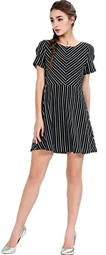 Slim striped short-sleeved dress - 4