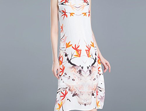 Women`s LINE Sleeveless Dresses Dress Neck Printed Silk Collared A cotyledon CqdEAww