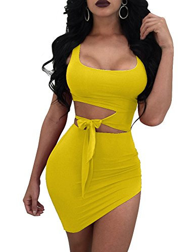 GOBLES Womens Sexy Bodycon Cut Out Sleeveless Outfit Mini Club Tank Dress Yellow