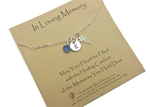 Memorial Necklace Sterling Silver, In Loving Memory, Bereavement Gift, Angel Wing Initial Birthstone