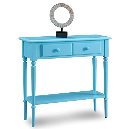 Country Foyer Table - Leick 20027-BL Coastal Narrow Hall Stand/Sofa Table with Shelf, Regatta Blue