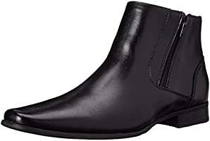 Calvin Klein Men's Beck Leather Boot, Black, 8.5 M US