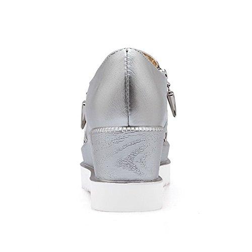 Allhqfashion Donna Con Cerniera Quadrata Punta Chiusa Gattino Tacchi Pu Pompe-scarpe Solide Argento