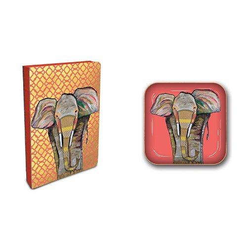 Studio Oh! Eli Halpin Hardcover Compact Coptic-Bound Journal and Small Metal Catchall Set, Majestic (Majestic Elephant)