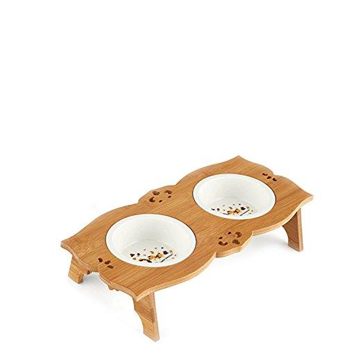 Perro Bowl Tazón De Fuente Doble Cerámica Bambú Madera Comedor Mesa De Acero Inoxidable-E