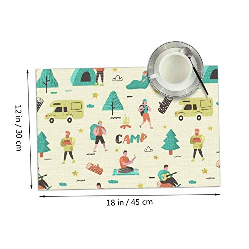 Coolfun Camping Tent Travel Baggage Train Themed Print Pattern 4 Piece Set of Placemats Pc Party Kitchen Dining Room Home Table Place Mat Patio Holidays Decorations Decor Ornament