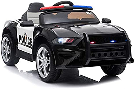 ATAA Coche de policía Coche eléctrico Infantil con Luces y Sonidos de Sirena
