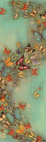 Pyramid America Butterflies in Flight Chinese Green Oriental Art Poster 12x36 - Butterfly Poster Art
