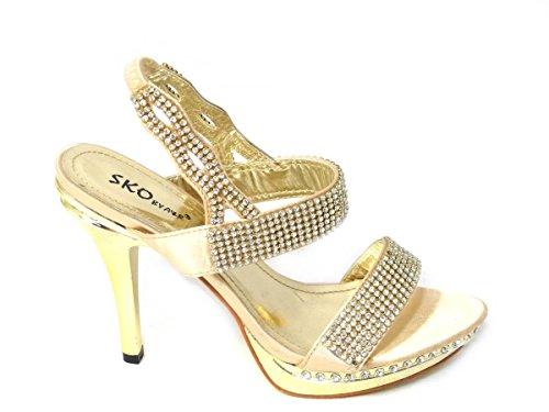 Varios Diseños Boda nbsp;6 Talón 8 Shoes 8551 Gold Tilly nbsp;8 Tamaño nbsp;7 nbsp;5 Sandals Novia Evening Diamante nbsp;4 alta Zapatos Novia 3 De 0PT7q
