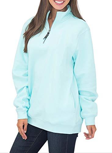1/4 Zip Fleece Pullover Womens Long Sleeves Fleece Pullover Sweatshirts Pockets Light Blue M 8 10