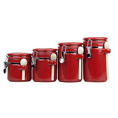 Home Basics 4PC Ceramic Canister Set W/Spoon (Red)