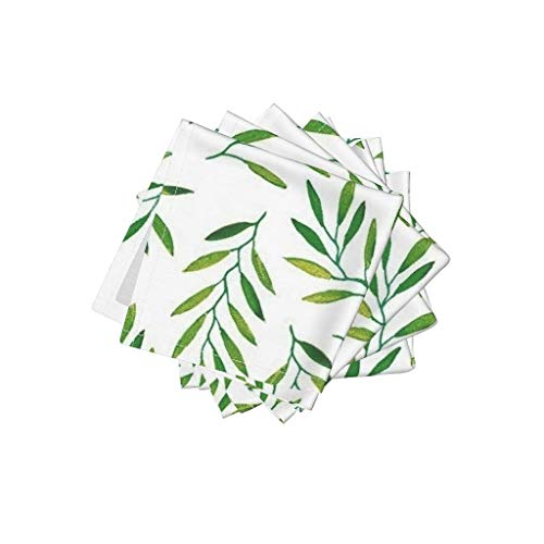 Roostery Willow Organic Cotton Sateen Cloth Cocktail Napkins - Leaves Leaf Green Tropics Tropical Palm by Jillbyers (Set of 4) 10 x 10in ()