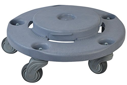 (Janico 1041 Quiet Trash Can Dolly, Non Marking Casters, Round, 18