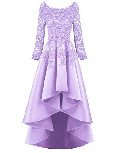 9 Long Sleeves High Low Prom Evening Dresses Beaded Lace Bridesmaid Cocktail Party Gowns 2019 Lilac 20 Plus ()