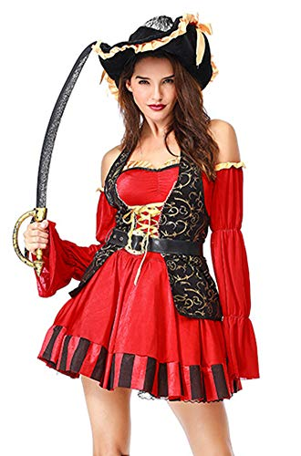 HNGHOU Women's Sexy Pirate Costume Halloween Adult Cosplay High Seas Pirate Costume Red