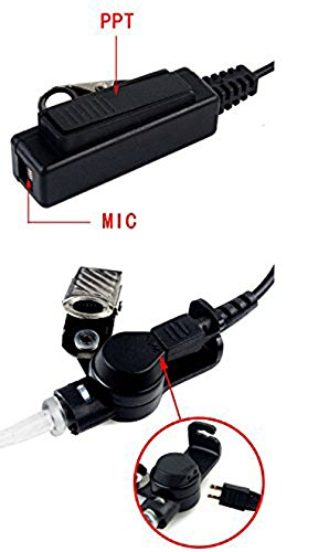 FANVERIM 3' 2-Wire Coil Earbud Audio Mic Surveillance Kit Compatible For Motorola Two-Way Radio XTS5000 HT1000 by FANVERIM (Image #4)
