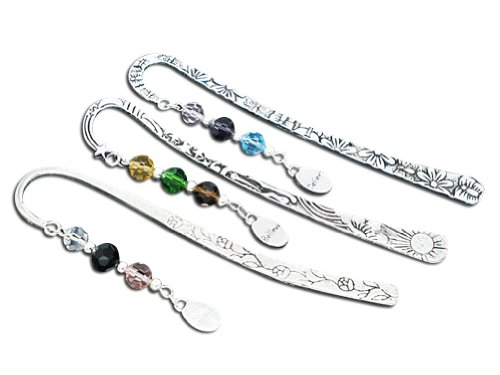 Housweety Beaded Charm Bookmarks, with Crystal Glass Quartz,