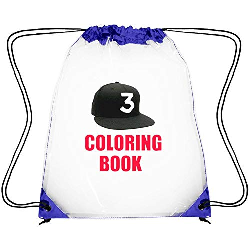 CAPXIEeY Clear Drawstring Backpack Chance The Rapper Number 3 Coloring Book Dancing Bag Gym Sports Travel Sack Pack for Men Women