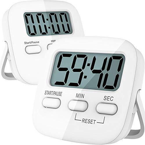 Kitchen Timer, 2 Pack Digital Kitchen Timer Magnetic Countdown Stopwatch Timer With Loud Alarm, Big Digit, Back Stand, Hanging Hole for Cooking, Shower, Bathroom, Kids, Teacher - AAA Battery Included ()