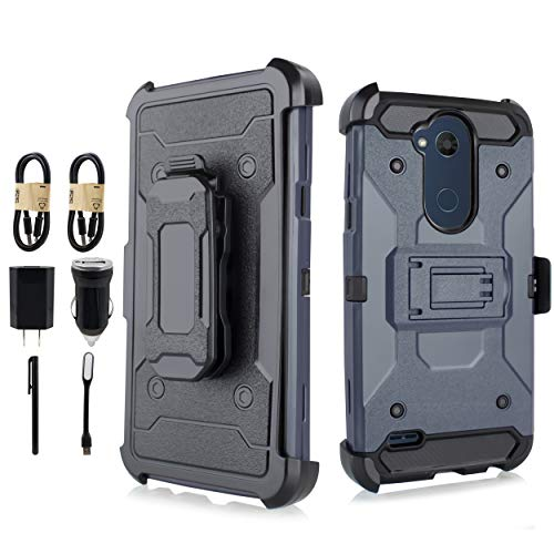 for LG X Power 3 Case, Belt Clip Holster Shockproof Cover Skin, Hard Phone Rugged Case [Value Bundle] ()