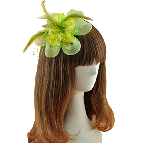 Coolr Fascinator Hair Clip Cocktail Headwear Flower Bridal Headpieces (Light Green) (60s Background)