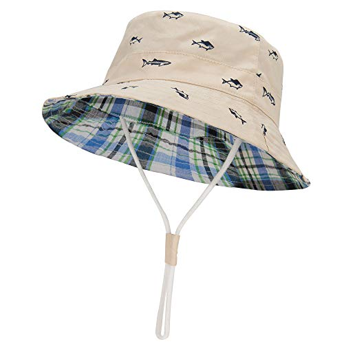 LOVINO Baby Hat for Boys Baby Sun Hats Summer Toddler Bucket Hats UPF 50+ Baby Boys Sun Protection Hats Gifts for Baby Beige 18.9