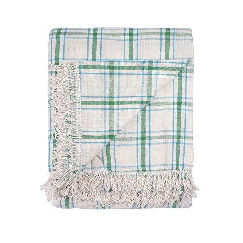Chiara Rose Natural Cotton Afghan Multi Purpose Lap Throw Blanket Woven Sheet Blanket Sage