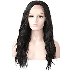 X-TRESS Long Wavy Synthetic Lace front wigs Glueless Synthetic Heat Resistant Free Part wig 22 Inches Lace Front Ombre Color Wavy Wigs For Black Women (1B)