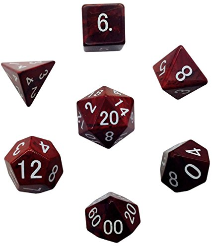 Custom & Unique {Standard Medium} 7 Ct Pack Set of [D4, D6, D8, D10, D12, D20] Assorted Polyhedral Shapes Playing & Game Dice Made of Genuine Jade Gemstone w/ Classy (Agate Genuine Pearl)