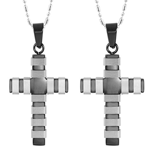 Baby Iron Man Costume Uk (Daesar 2PCS His & His Matching Set Necklace Stainless Steel Cross Pendant With Chain)