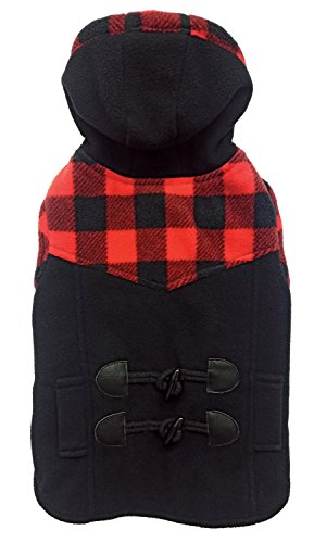- Fashion Pet 752617 Black Outdoor Dog Toggle Plaid Trim Coat, X-Large