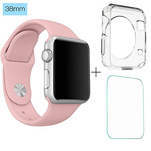 ClockChoice Silicone Watch Band Sport Replacement Kit for 38mm Series 1 & 2 Smartwatch, VINTAGE ROSE, Bonus Case Included, No adapter needed, Includes 3 Pieces, for 2 Lengths, For Women - E Gold Usa