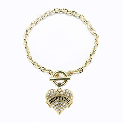 Inspired Silver - Designer Toggle Charm Bracelet for Women - Gold Pave Heart Charm Toggle Bracelet with Cubic Zirconia Jewelry (Inspired Bracelet Toggle Designer)