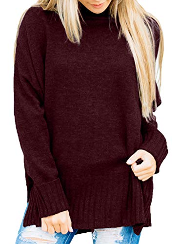 Dokotoo Womens Sweater Pullover High Neck Plus Size Cuffed Long Sleeve Soft Knitted Solid Casual Fashion Ladies Sweater Winter Outerwear Burgundy - Casual Winter Ladies Fashion