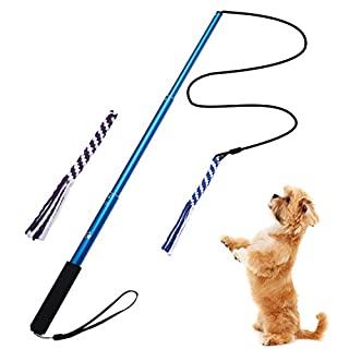 ANG Flirt Pole,Extendable Dog Teaser Wand with 2 Replacement Chew Tail Rope,Interactive Dog Tug Toy for Pulling, Chasing, Chewing, Teasing, Training (Blue-S)