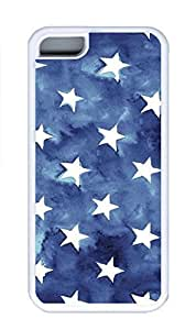 iPhone 5C Case, Personalized Custom Rubber TPU White Case for iphone 5C - Blue Stars Cover by lolosakes