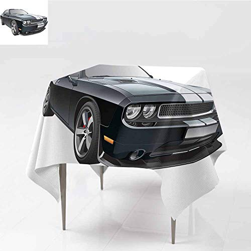 Diycon Oil-Proof and Leak-Proof Tablecloth Cars Black Modern Pony Car with White Racing Stripes Coupe Motorized Sport Dragster Black Grey White Washable Tablecloth W50 - Provincial Coupe