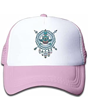 Dreamcatcher with Owl Mesh Hat for Boys&Girls Cool Adjustable Kids Cap Pink