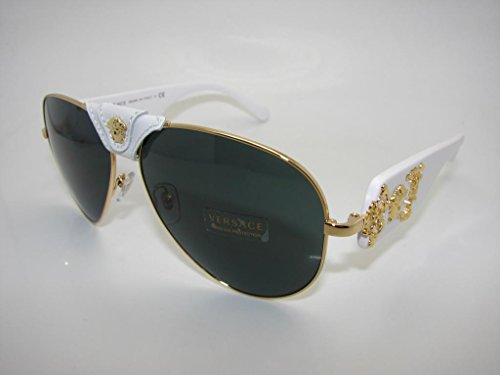 Versace Women's 0VE2150Q 1341/87 Medusa Aviator Sunglasses, - Glasses Versace